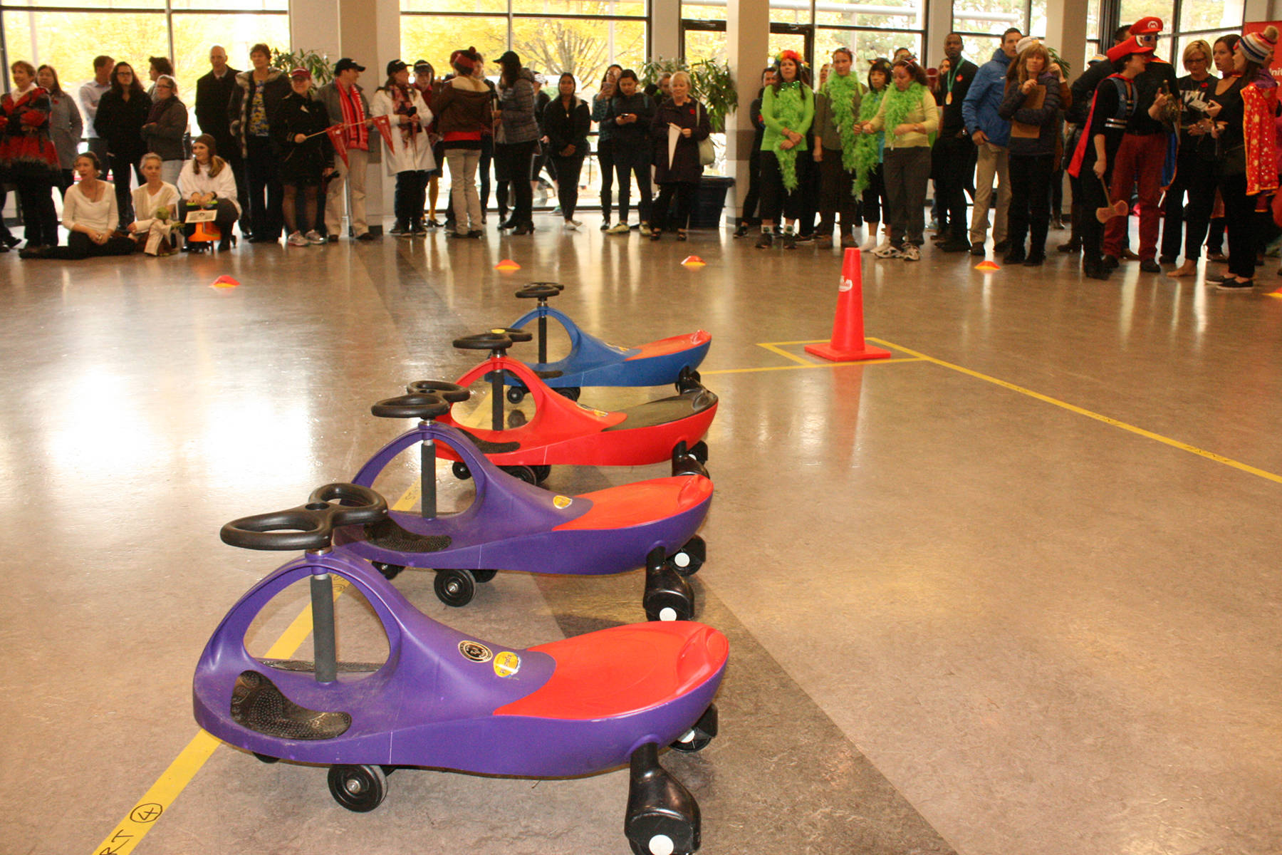 The PlasmaCars are ready to race at the fundraiser for United Way at UVic on Tuesday, Nov. 7. Travis Paterson/News Staff